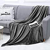 WGCC Fleece Throw Blanket for Couch, 50 x 60 Inch Soft Fluffy Warm Cozy Fuzzy Blanket for Bed, Sofa(Charcoal Gray)