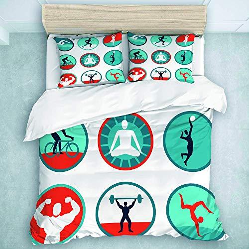 Juego de Funda nórdica, íconos y letreros de Fitness: Jogging, natación, Calidad de Hotel, Juego de Funda nórdica para Hombres y niños, 3 Piezas