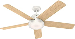 Hunter Indoor Wifi Ceiling Fan with LED Light and remote control - Romulus 54 inch, White, 59478