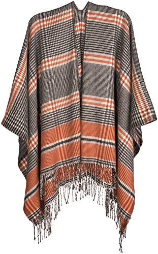 styleBREAKER Damen Cape mit Glencheck Karo Muster und Fransen, Umhang, Poncho, Damen 08010058, Farbe:Orange-Schwarz-Weiß