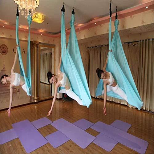 Yontree Yoga Hängematte Set Anti-Gravity-Schwingen Aerial Yoga Fitness Tuch 500 * 280cm (eisblau)
