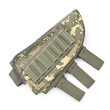 Rifle Stock Pack Cheek Pad / Buttstock Ammo Holder Pouch Tactical Buttstock Shotgun Rifle Shell Holder Cheek Rest Pouch  ACU color