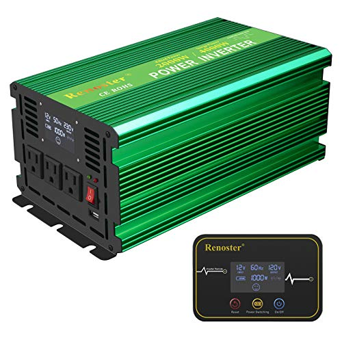 Renoster 2000W Power Inverter DC 12V to AC 120V with LCD Display Wireless Rechargeable Remote Control, Modified Sine Wave Car Power Converter with 3 AC Outlets 2.1A USB for RV Outdoor Camping(Green)