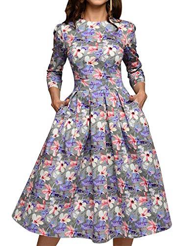 MINTLIMIT Damen 1950er Vintage Retro Cocktailkleid Rockabilly Kleider Petticoat Faltenrock Festliche Party Kleider Helllila#2758 XL
