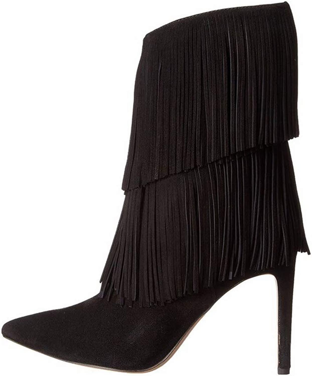 Ladies Booties, Fall Winter High Heel Pointed Fine Heel Ankle Boots Women's Suede PU Fashion Fringe Boots (color   C, Size   36)