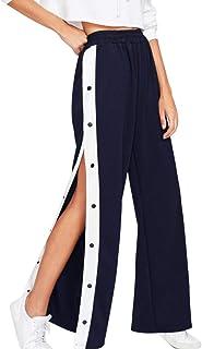 1f68ef4c3d2 Inlefen Lado Abierto Pantalones de Pierna Ancha De Las Mujeres Botón Lado  Pantalones de Pierna Ancha