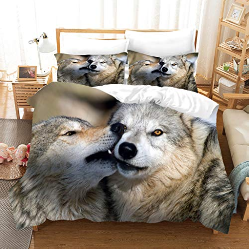 De Los Niños del Lecho del Lobo Impresión En 3D Cubierta del Edredón Maravilloso Lobo Pareja Funda Nórdica Sistema De Moda Suave Extra Grande Mujer Hombre 3 Piezas Juego De Cama,210 * 210cm