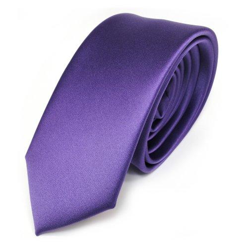 TigerTie TigerTie schmale Satin Krawatte in lila violett einfarbig uni