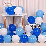 GRESAHOM Globos azules y blancos, paquete de 100 unidades, látex blanco vibrante, azul, azul claro, globos de fiesta de látex para niños, bautizo, niños baby shower, niños 1er cumpleaños