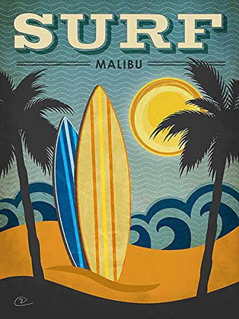 ターミナル医療のペックSurf Malibu Renee Pulve People Places Vintage Americana (キャンバスサイズを選択) 24x32 Unstretched Canvas IC-P808D24X32C