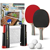 All-in-One Portable Table Tennis Set, Portable Carry Retractable Telescopic Table Top Tennis Net Rack with...