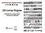 Pack de 130 letras en NEGRO para caja de luz led A4, A5 y A3. Vocales con Acentos, Ñ, Ç, ß. NO INCLUIDO letrero luminoso