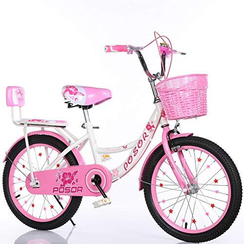 XNEQ Bicicleta Plegable Princess De Liberación Rápida, Bicicleta para Niño Y Niña, Canasta + Contrapunto con Respaldo, (6-16 Años), 18/20/22 Pulgadas,2,18