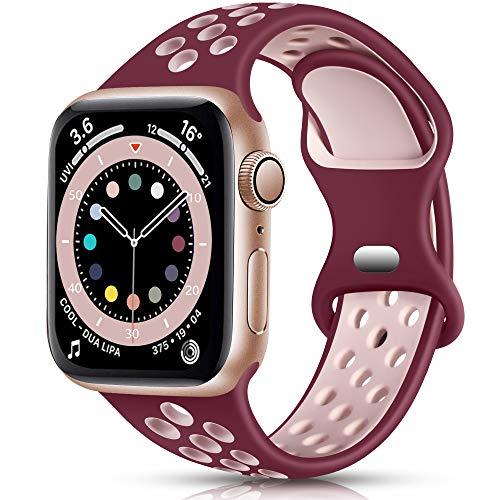 Epova Sport Cinturino in Silicone Compatibile con Apple Watch 44mm 42mm, Traspirante Cinturini di Ricambio per iWatch SE Series 6 5 4 3 2 1, Rosso Vino/Rosa, Grande