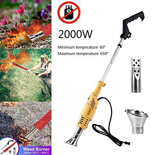 WishY Thermischer Unkrautvernichter GrillzüNder, 3in1 Unkrautbrenner mit 2 DüSen, 650 °C 2000 W Grasbrenner Unkrautbrenner Inkl füR Garten Fahrbahn,Gelb