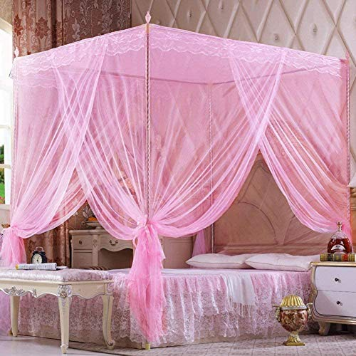 gengxinxin Moustiquaire De Lit De Lit Moustiquaire Universelle pour Lit À Installation Facile Style Doors Princess Encrypted Curtain Mosquito Pink Twin2 (Color: Color Size: Size) -Size_Colour