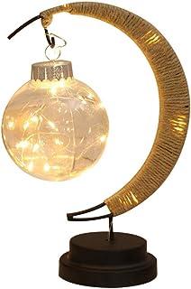 Lámpara de mesa en forma de luna hierro forjado con pilas Lámpara de mesa dormitorio lámpara de noche creativo escritorio lámpara de mesa (A)