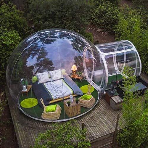 KUYT Casa Transparente Inflable de la Tienda de la Burbuja con Panorama de 360 ° Cúpula y 2 m túnel Adecuado para Acampar al Aire Libre Patio Trasero, Gratis Eléctrico Inflador