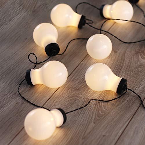 DecoKing 10er LED Lichterkette Glühbirnen auf schwarzem Draht warmes Weiß statisch batteriebetriebene LED Girlande Gartendeko Cocco