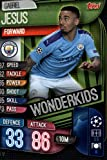 2019-20 Topps UEFA Champions League Match Attax Wonderkids #WKI 12 Gabriel Jesus MANCHESTER CITY FC Official Futbol Soccer Trading Card Game Playing Card