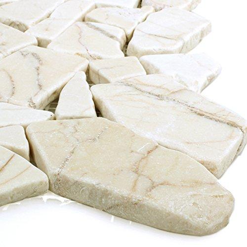 Polierte Bruch Marmor Mosaik Fliesen Golden Cream | Wandfliesen | Mosaik-Fliesen | Bruch-Mosaik | Naturstein | Ideal für die Küche und Badezimmer