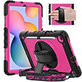 Timecity Case Compatible with Samsung Galaxy Tab S6 Lite 10.4' 2020 (SM-P610/ P615), with Pen Holder Built-in Screen Protector&360 Degree Swivel Stand&Hand Strap&Shoulder Strap - Rose