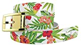 Tropical Floral White Golf Belt with Gold Buckle - Adjustable for Waist Size up to 44 Inch, Hypoallergenic - by C4 Belts