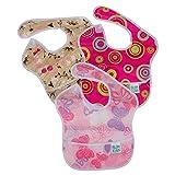 [ バンキンス ] Bumkins お食事エプロン 3枚セット スーパービブ 6~24ヶ月頃 よだれかけ スタイ 防水 洗濯可 Gセット(S3-G6) Bibs Waterproof Accessories Super Bib 3PK, Girl Assorted Pink Fizz/Butterfly/Flutter Floral ベビー ビブ エプロン 赤ちゃん [並行輸入品]