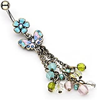 Amelia Fashion 14 Gauge Vintage Flower with Butterfly & Beaded Chain Dangle Navel Ring 316L Surgical Steel