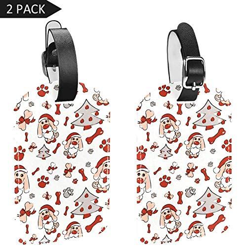 Etiquetas para Equipaje de Navidad, Gorro de Perro, diseño de Huella de Hueso de Perro, 2 Paquetes
