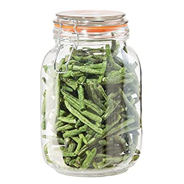 Oggi Airtight Glass 51 Ounce Canister with Clamp Lid