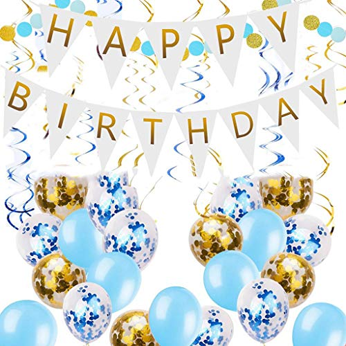 Sale!! LAOHAO Boy Birthday Set Party Decoration Happy Birthday Triangle Flag Confetti Balloon Spiral...