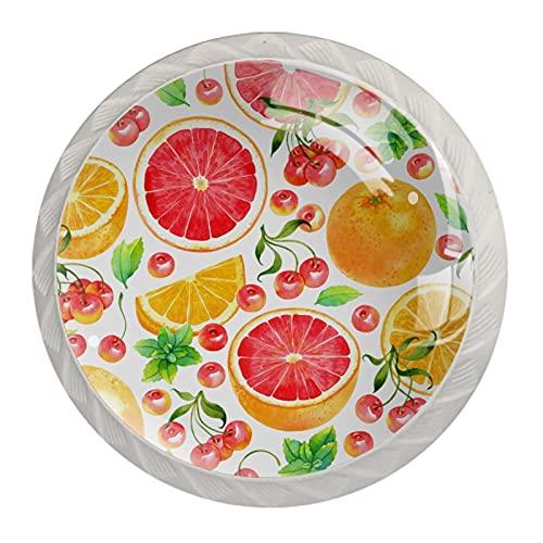 Tirador de la perilla del cajón 4 piezas El cajón del gabinete de vidrio de cristal tira las perillas del armario,verano naranja cereza blanca