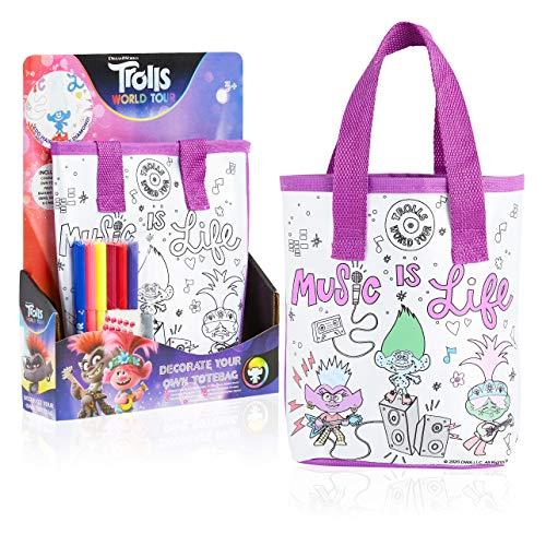 Trolls 2 Tasche zum Bemalen, Bastelset Kinder mit Poppy Guy Diamond und Queen Barb, Kleine Tasche Selber Malen mit Filzstifte und Schmuckstück Sticker, Spass Kreativ Set, Geschenke für Kinder