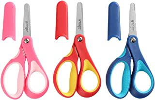 "LIVINGO 5"" Small School Student Blunt Tip Kids Craft Scissors, Sharp Stainless Steel Blades Anti-Microbial Safety Soft Grip Handles for Children Cutting Paper, Assorted Color, 3 Pack"