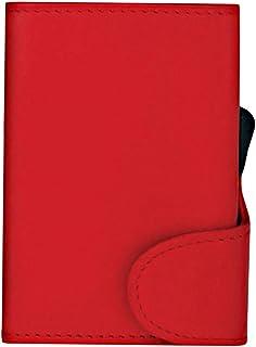 Santhome Ladies Slim Wallet Minimalist Credit Card Holder with Card Blocker RFID Blocking Technology (Saffiano Red PU Leat...