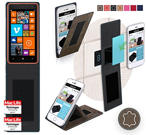 Hülle für Nokia Lumia 625 Tasche Cover Hülle Bumper   Braun Wildleder   Testsieger