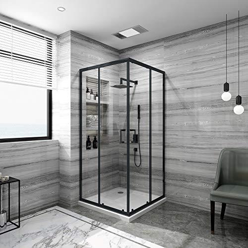 Duschabtrennung,Eckeinstieg Duschkabine, Schiebetür Duschabtrennung Duschwand schwarz (90x90x185cm)