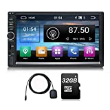 Trucker Autoradio Android 9.0 2 DIN 64GB Memoria 7 Pulgadas Pantalla táctil Navegación GPS Am FM RDS Reproductor Multimedia Video Música Quad Core 2GB RAM 32 GB ROM 32 GB Tarjeta SD Wi-Fi BT, S1 Plus