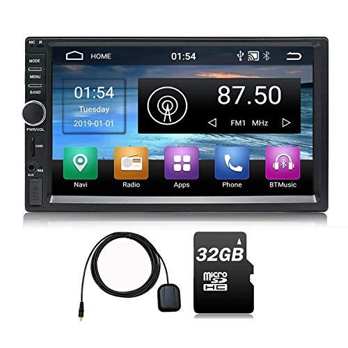 Trucker Autoradio Android 9.0 2 DIN 64GB Memoria 7 Pulgadas Pantalla táctil Navegación GPS Am FM RDS Reproductor Multimedia Video Música Quad Core 2GB RAM 32 GB ROM 32 GB Tarjeta SD Wi-Fi BT, S1 Plus