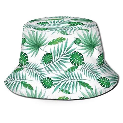 SUHETI Sombrerode Pescador Visera,Aloha Polinesia Estilo Acuarela Monstruo con Palma Hojas Luau,con Gorra Protección contra Sol UV Transpirable Sombrero