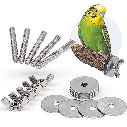 Lot de 5 vis de branches pour bricolage et fixation de cage de jouets pour oiseaux, perchoirs, planches de siège, etc. (acier inoxydable)