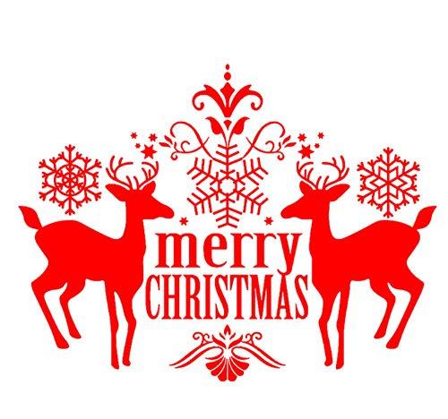 sufengshop Kerstmis Elk Letter Stickers Verwijderbare PVC Home Store Deur Muurdecoratie Art Decal Kerst Stickers voor Raamdecoratie Grootte 37×58cm