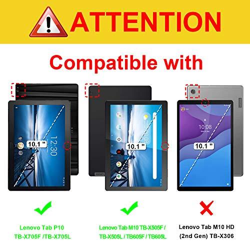 Fintie Hülle für Lenovo Tab M10 (TB-X505L TB-X505F TB-X605L TB-X605F) / P10(TB-X705F) - Folio Kunstleder Schutzhülle mit Standfunktion für Lenovo Smart Tab M10 / P10 (10,1 Zoll) Tablet PC, Schwarz