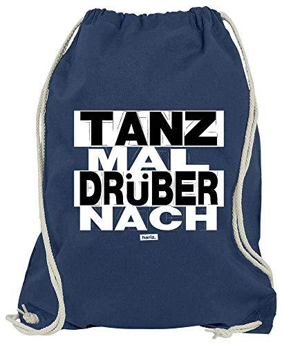 HARIZ Turnbeutel Tanz Mal Drüber Nach Sprüche Schwarz Weiß Plus Geschenkkarte Navy Blau One Size