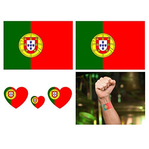 Luxspire Tatuaggi Temporanei, [16 Pezzi] Tatuaggi Finti Adesivi Bandiera per Adulti Bambini Donne Uomini - Bandiera Portogallo