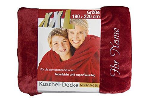 KringsFashion + gözze Wohn- & Kuscheldecke mit Namen/Wunschtext Bestickt, 180 x 220 cm, Farbe rot, Stickfarbe Silber, Decke, Wohndecke, Tagesdecke, Übermittlung Wunsch Button Jetzt anpassen ->