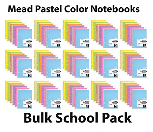 Mead Spiral Notebook, 96 Pack of 1-Subject College Ruled Spiral Bound Notebooks, Pastel Color Cute school Notebooks, 70 Pages