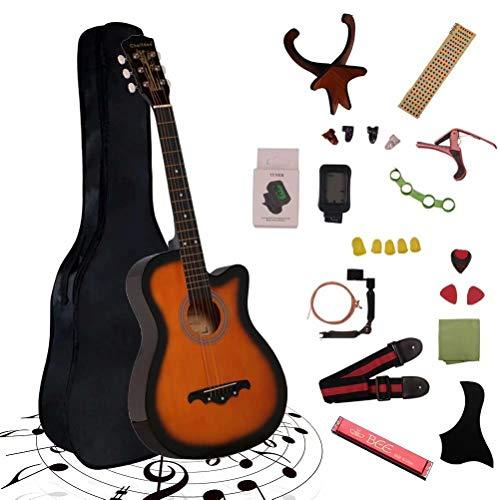 アコースティックギター 初心者25点入門セット ギター 弦 ストラップ チューナー ケース付き(オレンジ)