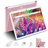 Tablet 10 Pulgadas 4GB de RAM 64GB de ROM Android 10 Certificado por Google GMS Tablet PC Baratas y Buenas Batería 8500mAh Quad Core 4G Dual SIM 8MP Cámara Netflix WiFi Bluetooth GPS OTG(Rosa)